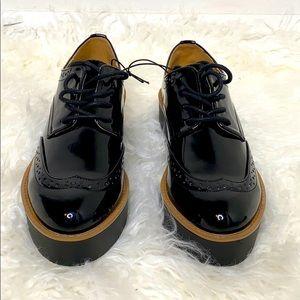 Madden Girl Black Glossy Platform Lace Up size 6.5